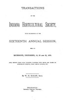 Transactions of the Indiana Horticultural Society PDF