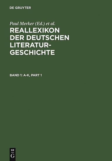 Reallexikon der deutschen Literaturgeschichte PDF