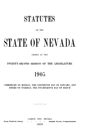 Statutes of the State of Nevada Passed at the ... Session of the Legislature: Volume 22