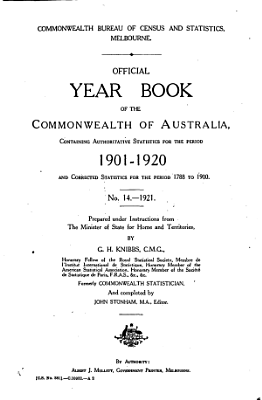 Official Year Book of the Commonwealth of Australia No  14   1921 PDF