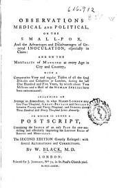 Observations Medical and Political on the Small-pox and the Advantages and Disadvantages of General Inoculation Especially in Cities, and on the Mortality of Mankind at Every Age in City and Country...