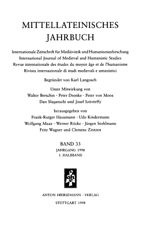 Mittellateinisches Jahrbuch PDF