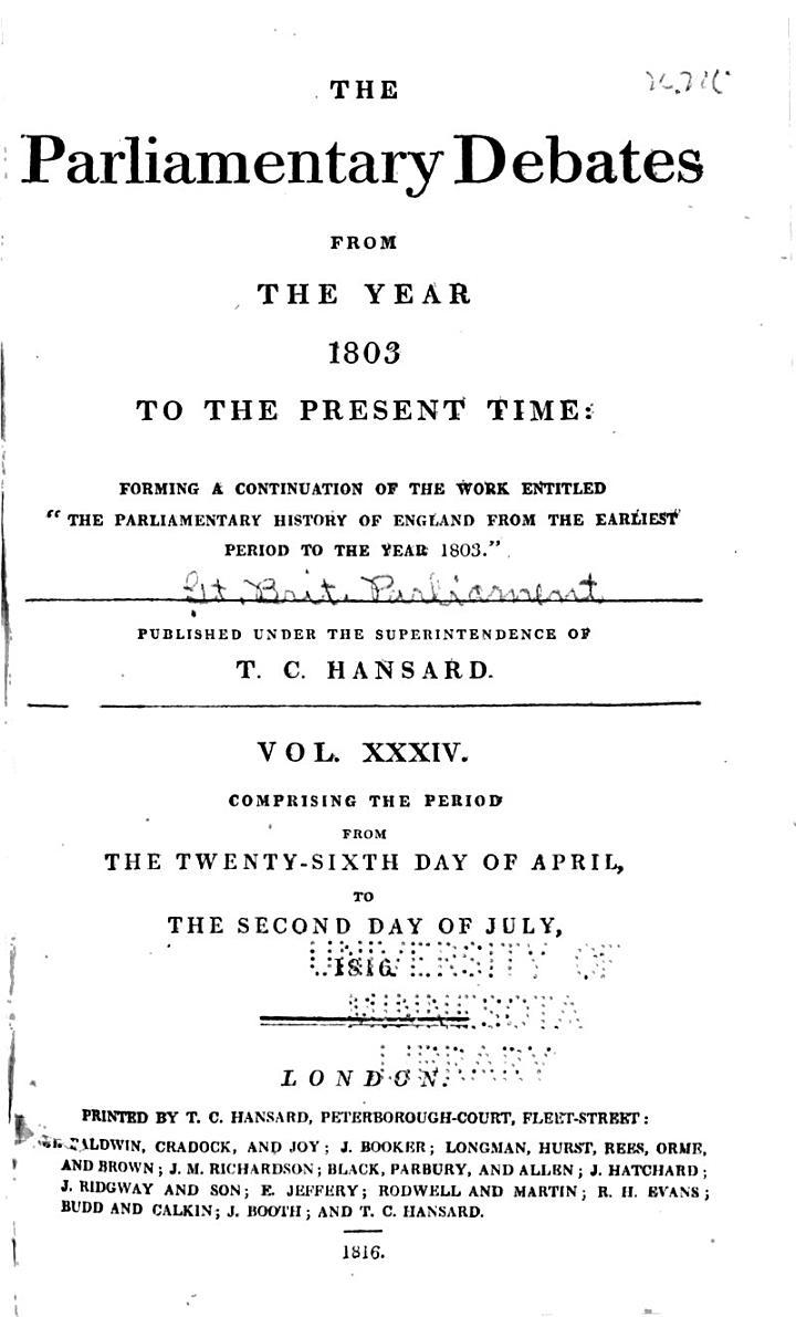 The Parliamentary Debates: v. 1-41, Nov. 1803