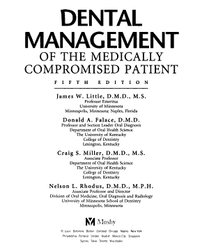 Dental Management of the Medically Compromised Patient PDF