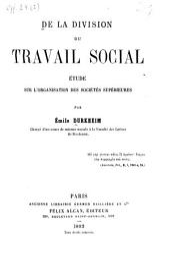 De la division du travail social: ?etude sur l'organisation des soci?et?es sup?erieures