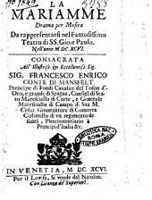 La Mariamme drama per musica da rappresentarsi nel famosissimo teatro di SS. Gio. e Paulo nell'anno 1696. ..