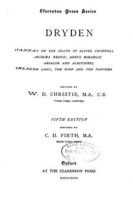 Dryden  Stanzas on the Death of Oliver Cromwell