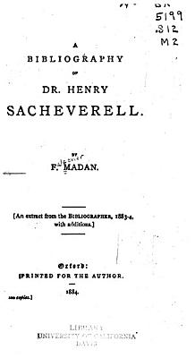 A bibliography of Dr  Henry Sacheverell PDF