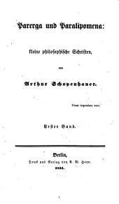 Parerga u. Paralipomena: kleine philosophische Schriften: Band 1