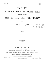 English Literature   Printing from the 15th to the 18th Century PDF