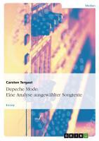 Depeche Mode  Eine Analyse ausgew  hlter Songtexte PDF