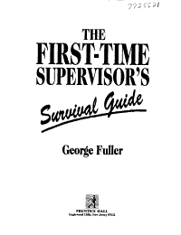 The First time Supervisor s Survival Guide