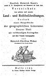 Gottlieb Heinrich Stuck's Verzeichnis von aeltern und neuern Land- und Reisebeschreibungen