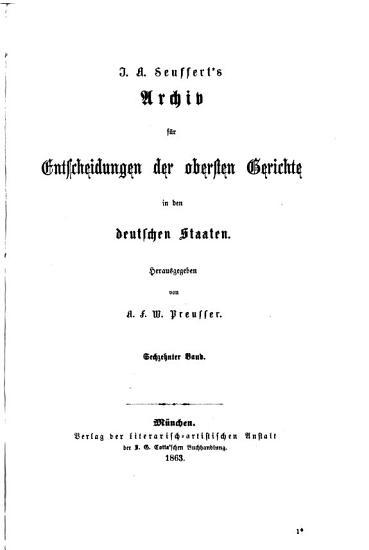 J A  Seuffert s Archiv f  r Entscheidungen der obersten Gerichte in den deutschen Staaten PDF