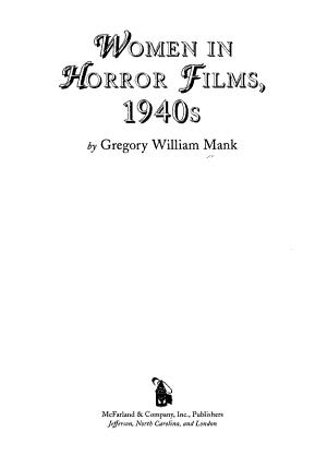 Women in Horror Films  1940s PDF