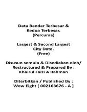 Largest & Second Largest City Data. ( Free Edition ~ English & Malay )