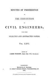 Minutes of Proceedings of the Institution of Civil Engineers: Volume 66