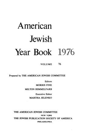 AMERICAN JEWISH YEAR BOOK 1976 VOLUME 76 PDF