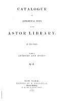 Catalogue Or Alphabetical Index of the Astor Library PDF