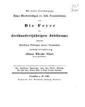 Das Frankfurter Gymnasium unter dem Rector Hirtzwig