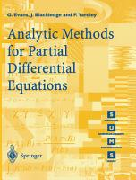 Analytic Methods for Partial Differential Equations PDF