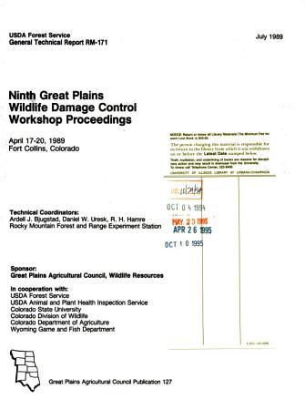 Ninth Great Plains Wildlife Damage Control Workshop Proceedings PDF