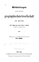 Mitteilungen der Kaiserlich K  niglichen Geographischen Gesellschaft PDF