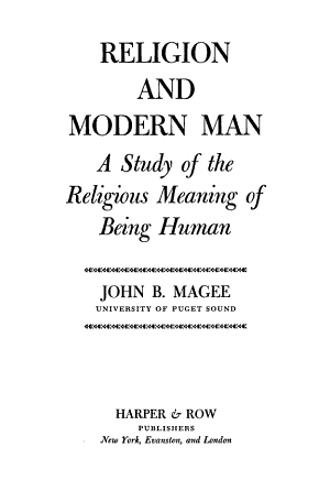 Religion and Modern Man