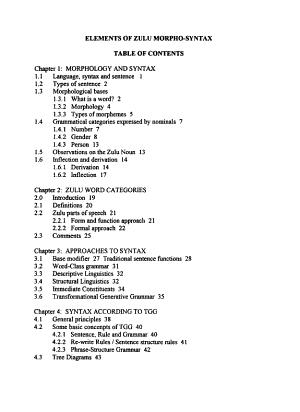 Elements of Zulu Morpho syntax PDF