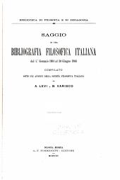 Saggio di una bibliografia filosofica italiana dal 1. ̊gennaio, 1901 al 30 giugno 1908
