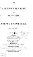 The American Almanac and Respository of useful knowledge for the year 1832 PDF