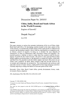 China  India  Brazil and South Africa in the World Economy PDF