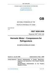GB/T 9098-2008: Translated English of Chinese Standard. You may also buy from www.ChineseStandard.net (GBT 9098-2008, GB/T9098-2008, GBT9098-2008): Hermetic motor-compressors for refrigerators.