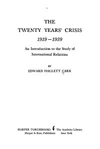 The Twenty Years  Crisis  1919 1939