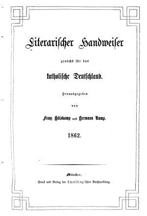 Literarischer Handweiser Zun  chst f  r alle katholiken deutscher Zunge PDF