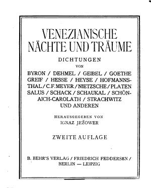 Venezianische N  chte und Tr  ume PDF