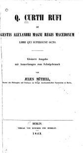 De gestis Alexandri Magni, regis Macedonum, libri qui supersunt octo
