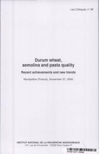 Durum Wheat  Semolina and Pasta Quality