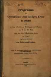 Ueber die Auflösungen eines Systems von Gleichungen von Richard Baltzer: (Programm des Gymnasiums zum Heiligen Kreuz in Dresden 1868. Mit Schulnachrichten.)