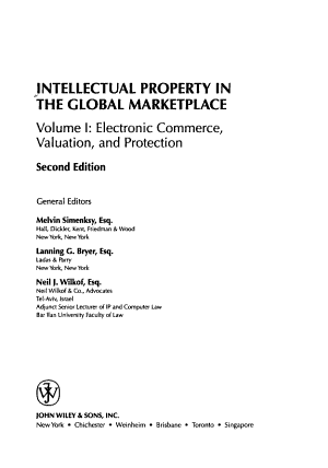 Intellectual Property in the Global Marketplace  Valuation  Protection  Exploitation  and Electronic Commerce PDF