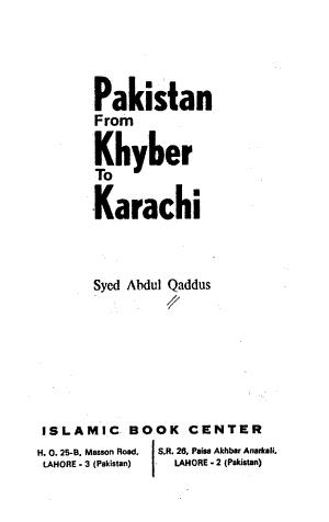 Pakistan from Khyber to Karachi PDF