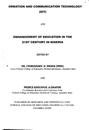 Information and Communication Technology  ICT  and Enhancement of Education in the 21st Century in Nigeria PDF