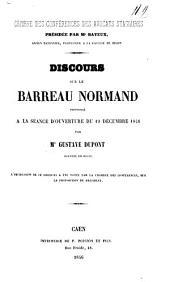 Discours sur le barreau Normand