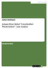 """Johann Peter Hebel """"Unverhofftes Wiedersehen"""" - eine Analyse"""
