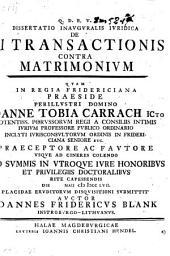 Dissertatio inauguralis juridica de vi transactionis contra matrimonium