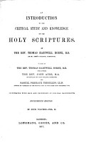 An Introduction to the Critical Study and Knowledge of the Holy Scriptures PDF