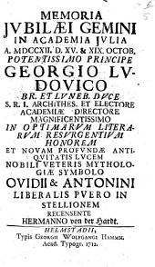 Memoria iubilaei gemini in Academia Iulia anno 1712