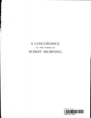 A Concordance to the Poems of Robert Browning PDF