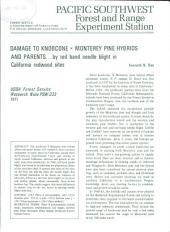 Damage to knobcone X Monterey pine hybrids and parents-- by red band needle blight in California redwood sites