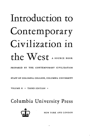 Introduction to Contemporary Civilization in the West PDF
